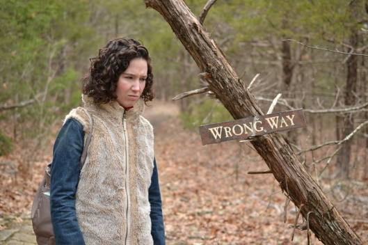 me and wrong way sign