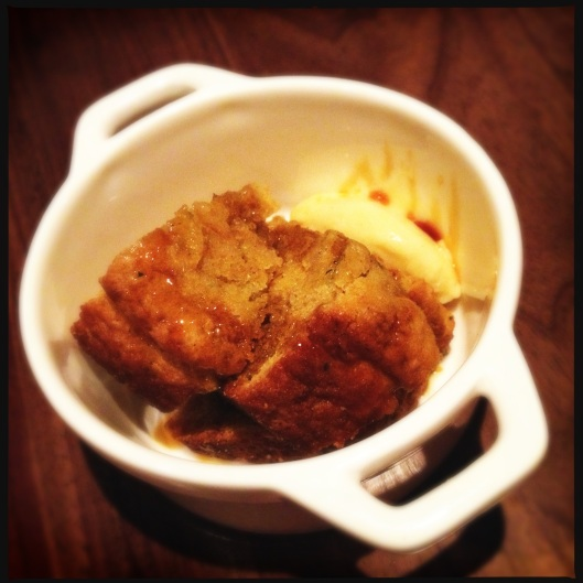 Cheesy cornbread with lardons.
