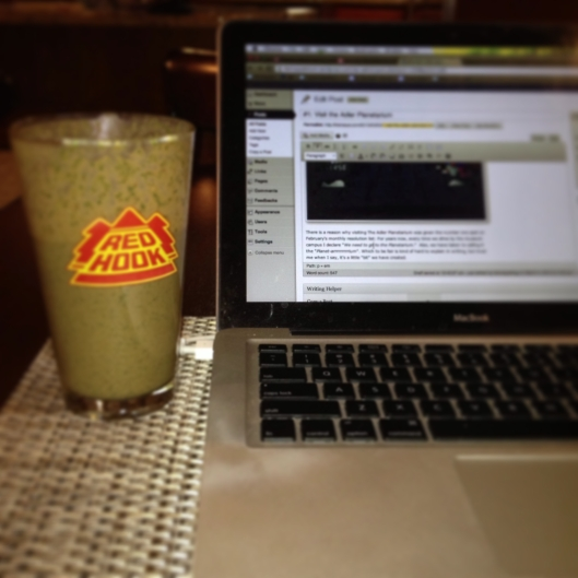 Vegan protein shake with a side of Blogging.