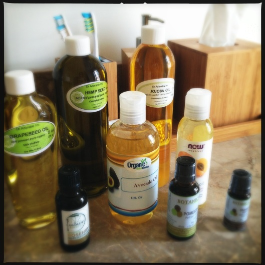 A collection of oils as I begin my first ever attempt at making some homemade skincare products